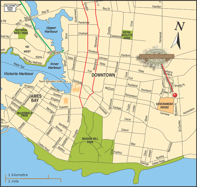 Victoria Map Abbeymoore Bed and Breakfasts in Victoria BC Canada